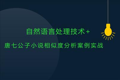 自然语言处理技术与唐七公子小说相似度分析案例实战