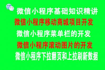 微信小程序基础精讲及项目实战(移动商城+菜单栏+滚动图片+下拉刷新+上拉刷新数据)  title=