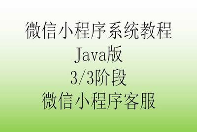微信小程序系统教程Java版[3/3阶段]_微信小程序客服