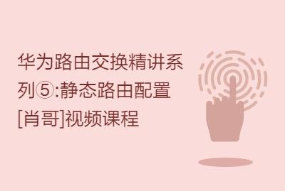 华为路由交换精讲系列⑤:静态路由配置 [肖哥]视频课程