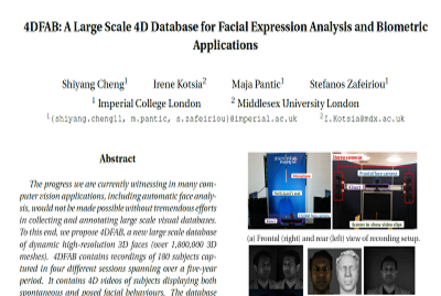 【CVPR2018】4DFAB A Large Scale 4D Database for Fac