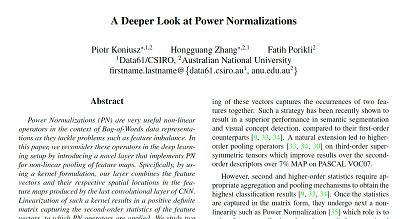 【CVPR2018】A Deeper Look at Power Normalizations