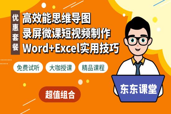 思维导图+Word与Excel技巧+录屏微课短视频制作 新课推广特惠套餐