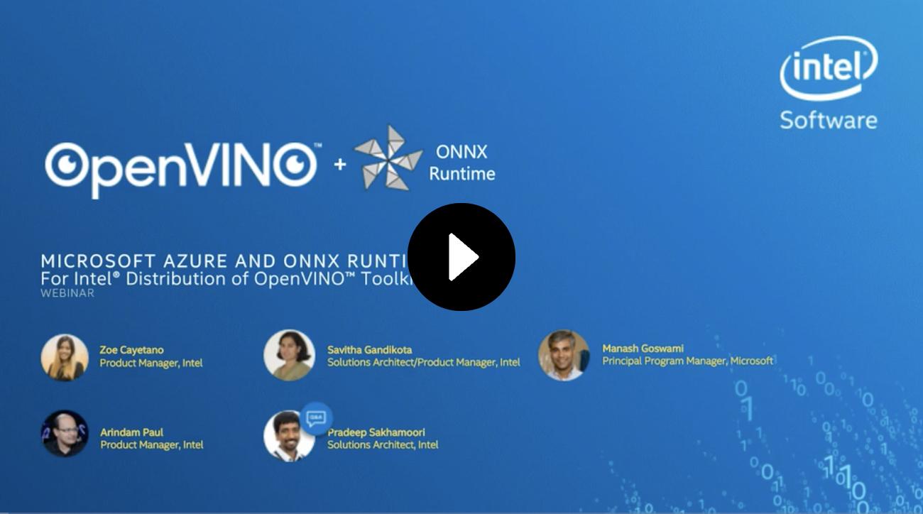适用于OpenVINO 的Microsoft Azure* 和ONNX* 运行时